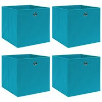 vidaXL Oppbevaringsbokser 4 stk babyblå 32x32x32 cm stoff