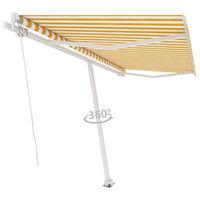 vidaXL Frittstående manuell uttrekkbar markise 400x300 cm gul/hvit