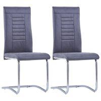 vidaXL Frittbærende spisestoler 2 stk grå kunstig semsket skinn