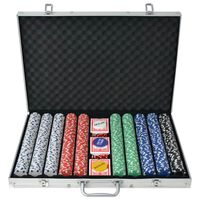 vidaXL Pokersett med 1000 sjetonger aluminium