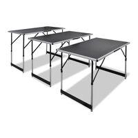 vidaXL Arbeidsbord 3 stk foldbart høydejusterbart