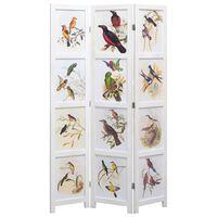 vidaXL Romdeler 5 paneler hvit 175x165 cm fugl