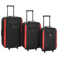 vidaXL Myke kofferter 3 stk svart oxfordstoff