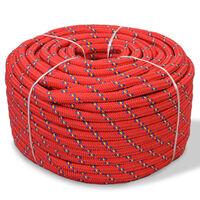 vidaXL Båttau polypropylen 10 mm 250 m rød