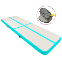 vidaXL Oppblåsbar gymnastikkmatte med pumpe 500x100x20 cm PVC grønn