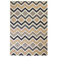 vidaXL Moderne teppe sikksakk-design 120x170 cm brun/svart/blå