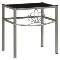 vidaXL Nattbord grå og svart 42,5x33x44,5 cm metall og glass