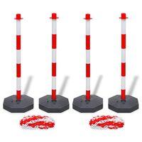 vidaXL Sett med 4 kjedestolper og 2 plastkjeder på 10 m hver