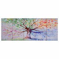 vidaXL Lerretsbilde tre regn flerfarget 200x80 cm