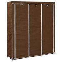 vidaXL Garderobe med skap og stenger brun 150x45x175 cm stoff