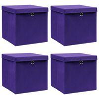 vidaXL Oppbevaringsbokser med lokk 4 stk lilla 32x32x32 cm stoff