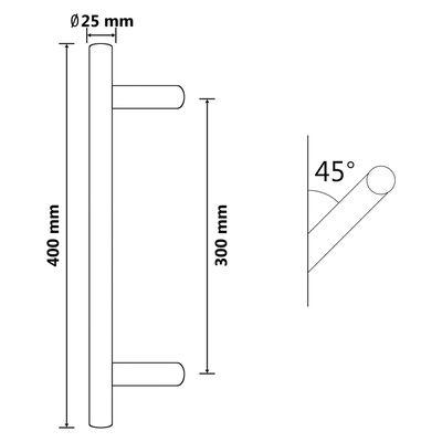 vidaXL Dørstang 400 mm rustfritt stål