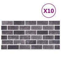 vidaXL 3D veggpaneler med svart og grått mursteindesign 10 stk EPS