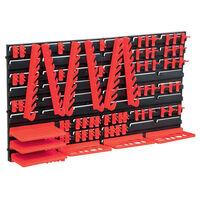 vidaXL Oppbevaringssett i 71 deler med veggpaneler rød og svart