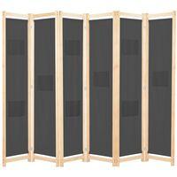 vidaXL Romdeler 6 paneler grå 240x170x4 cm stoff