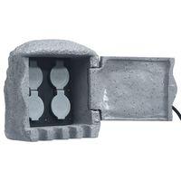 vidaXL Hagestøpsel med fire uttak fjernkontroll kunstharpiks grå
