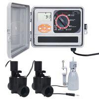 vidaXL Hagevanningsregulator med regnsensor og magnetventil