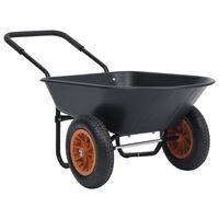 vidaXL Trillebår svart og oransje 78 L 100 kg