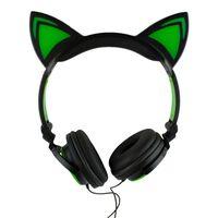 LED Hodetelefoner med katteører - Svart og Grønn