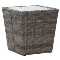 vidaXL Tebord grå 41,5x41,5x43 cm polyrotting og herdet glass