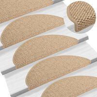vidaXL Selvklebende trappematter sisal-utseende 15 stk 65x25 cm sand