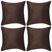 vidaXL Putetrekk 4 stk 40x40 cm polyester imitert semsket skinn brun