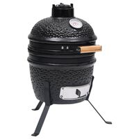 vidaXL Kullgrill med røyker Kamado keramisk 56 cm svart