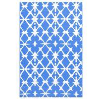vidaXL Uteteppe blå og hvit 120x180 cm PP