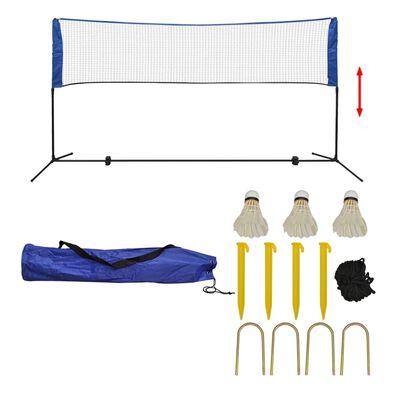 vidaXL Badmintonnett med fjærballer 300x155 cm
