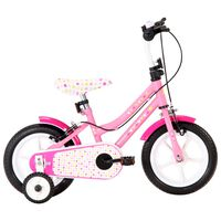 vidaXL Barnesykkel 12 tommer hvit og rosa