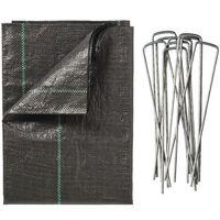 Nature Ugressduk med plugger 2x5 m svart