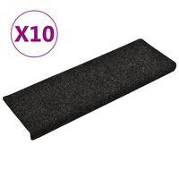 vidaXL Selvklebende trappematter 10 stk svart 65x25 cm nålestempel