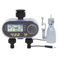 vidaXL Digital vanningstimer med to krankoblinger og fuktighetssensor