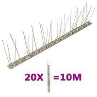 vidaXL Fuglepigger 5 rader 20 stk rustfritt stål 10 m