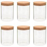 vidaXL Glasskrukker med kork 6 stk 650 ml