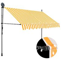 vidaXL Manuell uttrekkbar markise med LED 300 cm hvit og oransje