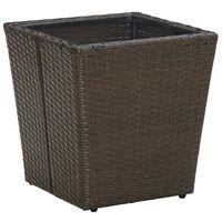 vidaXL Tebord brun 41,5x41,5x44 cm polyrotting og herdet glass