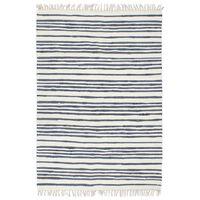 vidaXL Håndvevet Chindi teppe bomull 120x170 cm blå og hvit