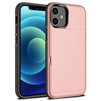 Iphone 12 Max Deksel Med Kortspor Tpu / Pc Pink