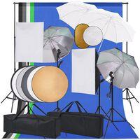 vidaXL Fotostudiosett med softboks lys, paraplyer, bakgrunn, reflektor