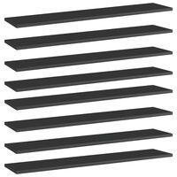 vidaXL Hylleplater 8 stk høyglans svart 100x20x1,5 cm sponplate