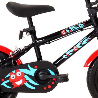 vidaXL Barnesykkel 12 tommer svart og rød