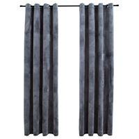 vidaXL Lystette gardiner med ringer 2 stk fløyel antrasitt 140x245 cm