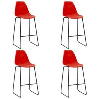 vidaXL Barstoler 4 stk rød plast