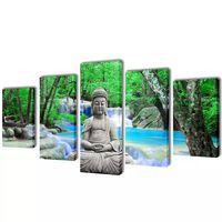 Kanvas Flerdelt Veggdekorasjon Buddha 200 x 100 cm
