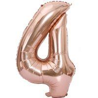 Nummerballong 102 Cm, Nummer 4 - Rosa