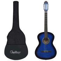 """vidaXL Klassisk gitar nybegynnersett 12 deler 4/4 39"""" blå"""