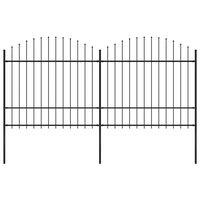 vidaXL Hagegjerde med spydtopp stål (1,5-1,75)x3,4 m svart