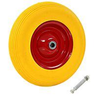 vidaXL Trillebårhjul med aksel massiv PU 4,00-8 390 mm