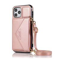 Iphone 12 Pro Max Deksel Lommebokveske Tpu / Pu Lær Rose Gull